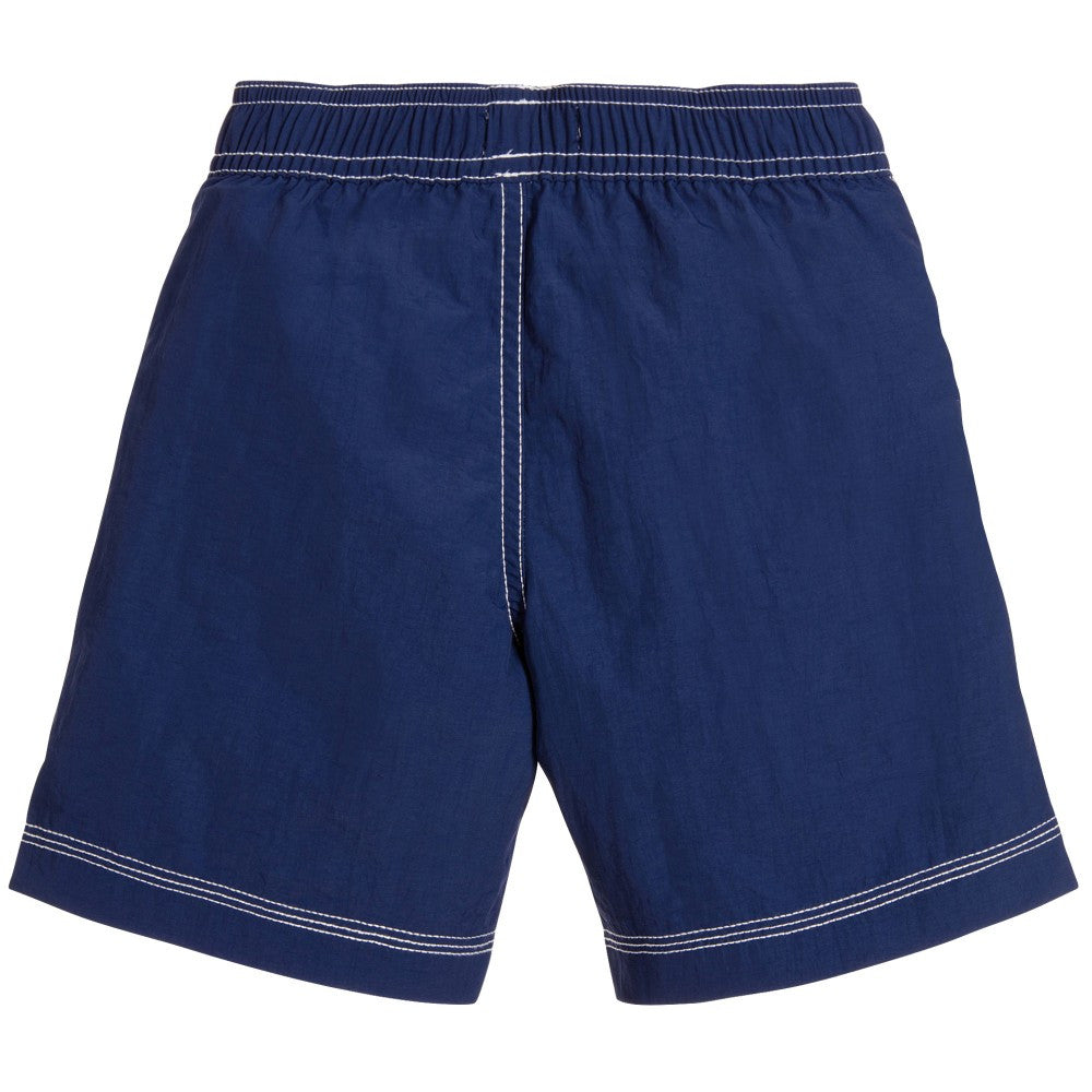 Hugo Boss Boys Navy Blue Logo Swim Shorts Boys Swimwear Boss Hugo Boss [Petit_New_York]