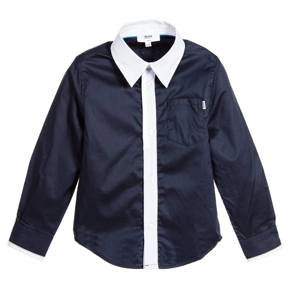 Hugo Boss Boys Navy Shirt with Patches Boys Shirts Boss Hugo Boss [Petit_New_York]