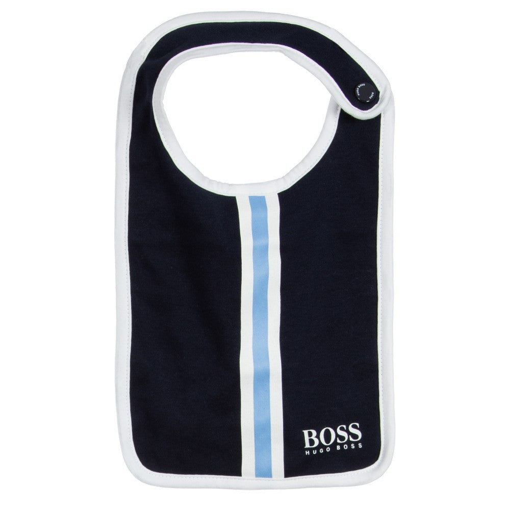 Hugo Boss Navy Blue Romper & Bib Gift Set Baby Rompers & Onesies Boss Hugo Boss [Petit_New_York]