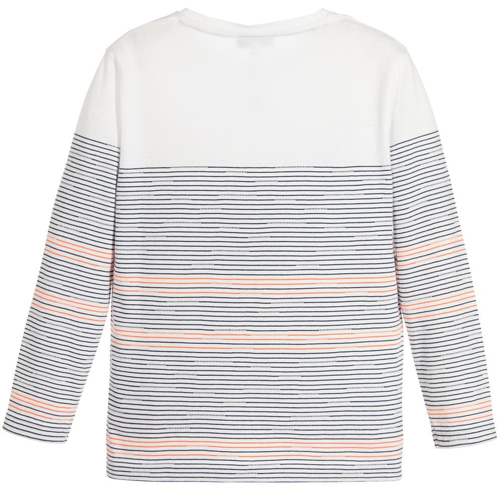 Hugo Boss Boys White with Colorful Striped T-shirt Boys T-shirts Boss Hugo Boss [Petit_New_York]