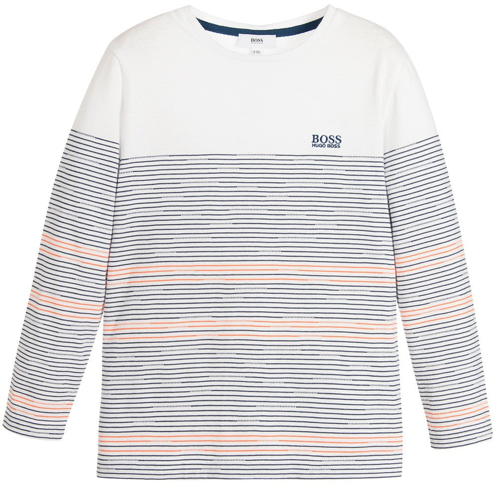 1e37c43bbd75 Hugo Boss Boys White with Colorful Striped T-shirt Boys T-shirts Boss Hugo