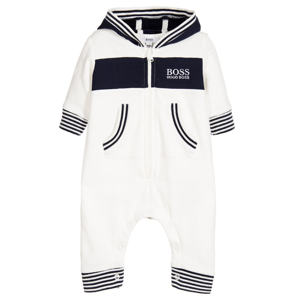 Hugo Boss Baby Boys White Fleece Onesie Baby Rompers   Onesies Boss Hugo  Boss  Petit New York 48143ece6