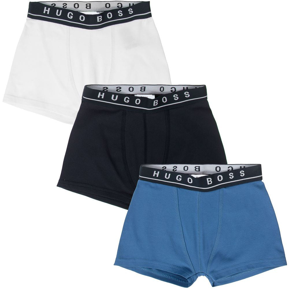 Hugo Boss Boys Set of Three Boxer Shorts [Blue/Navy/White] Boys Underwear & Socks Boss Hugo Boss [Petit_New_York]