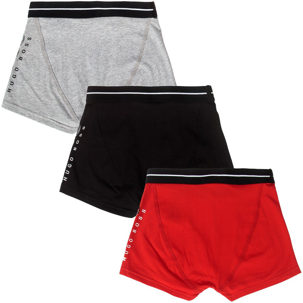 Hugo Boss Boys Set of Three Boxer Shorts [Red/Black/Grey] Boys Underwear & Socks Boss Hugo Boss [Petit_New_York]