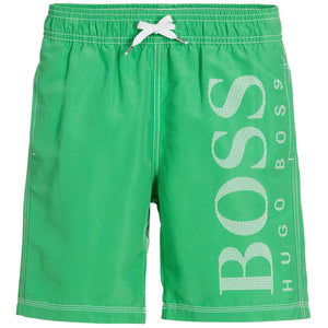 5b69f0a7 Hugo Boss Boys Green Logo Swim Shorts Boys Swimwear Boss Hugo Boss  [Petit_New_York]
