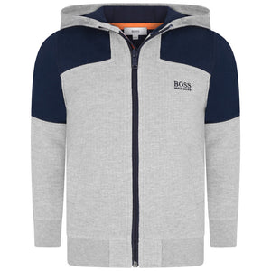 Hugo Boss Boys Grey Zip Up Hoodie Boys Sweaters & Sweatshirts Boss Hugo Boss [Petit_New_York]
