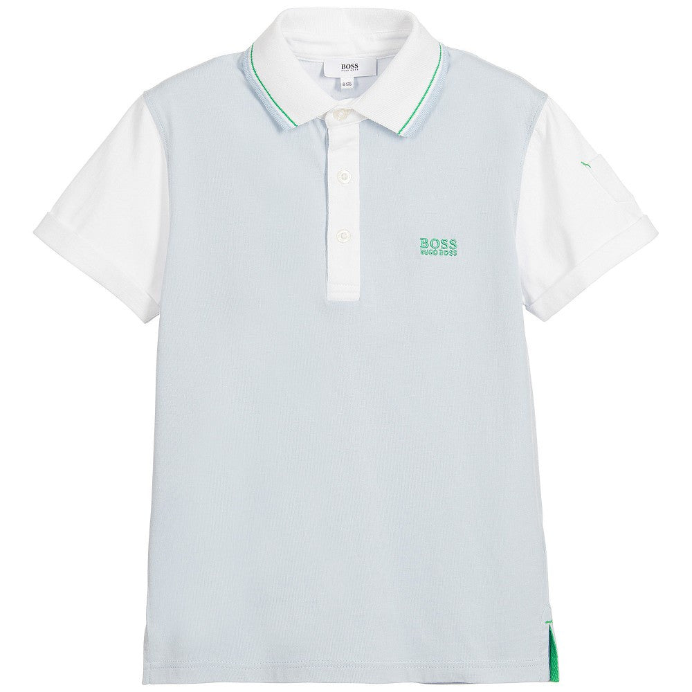 Hugo Boss Boys Light Blue and White Polo Shirt Boys Polo Shirts Boss Hugo Boss [Petit_New_York]