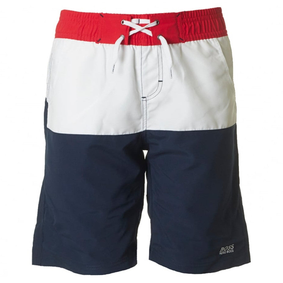 Hugo Boss Boys Tri-Color Swim Shorts Boys Swimwear Boss Hugo Boss [Petit_New_York]