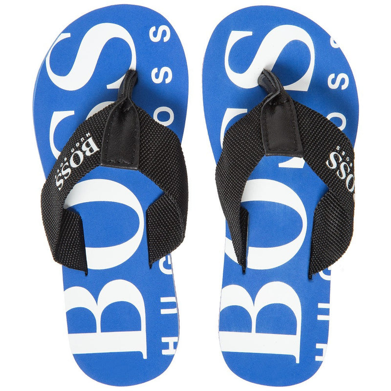Hugo Boss Marine Blue Logo Flip-Flops Boys Shoes Boss Hugo Boss [Petit_New_York]