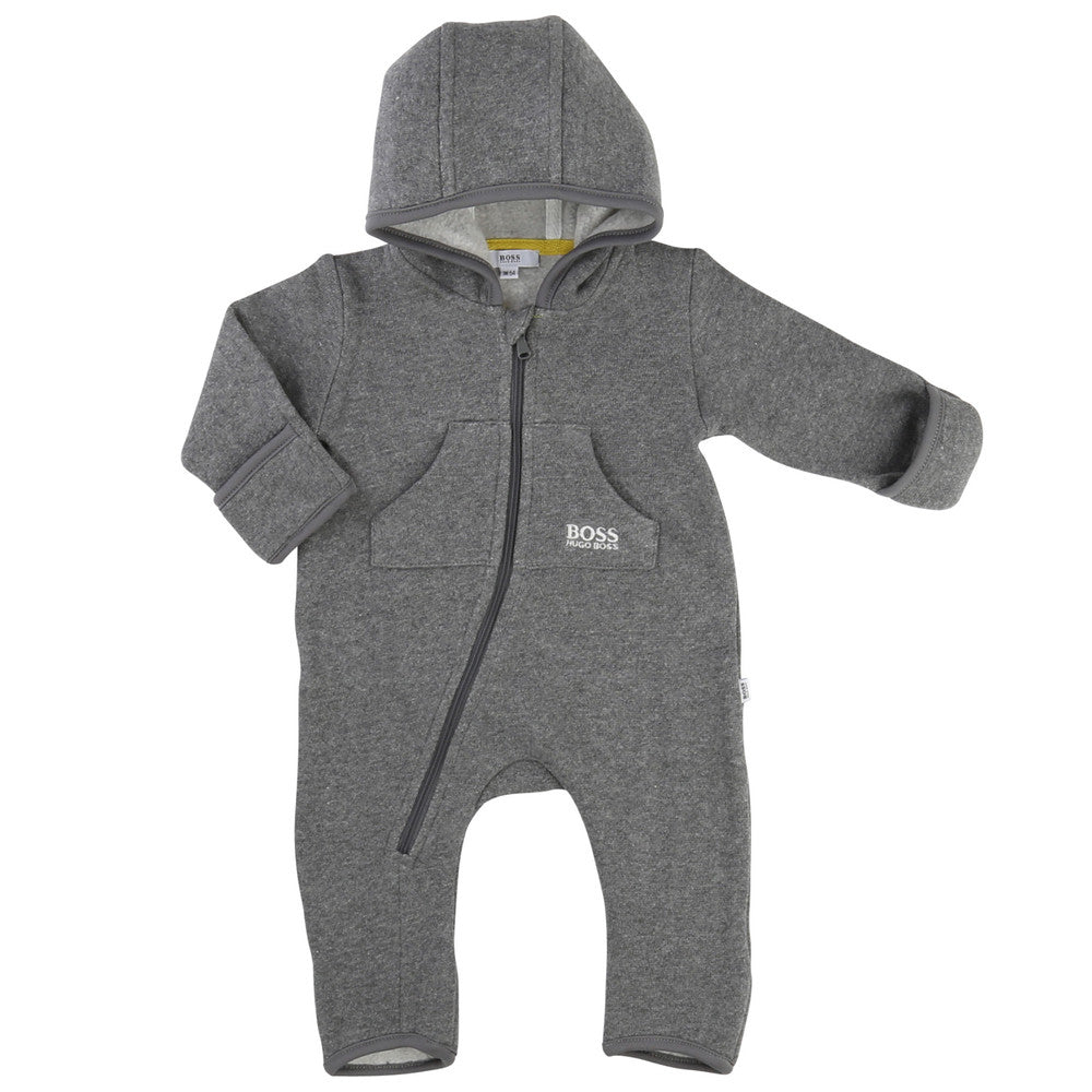 Hugo Boss Baby Boys Grey Polar Onesie Baby Rompers & Onesies Boss Hugo Boss [Petit_New_York]
