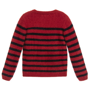 IKKS Girls Red and Blue Striped Sweater