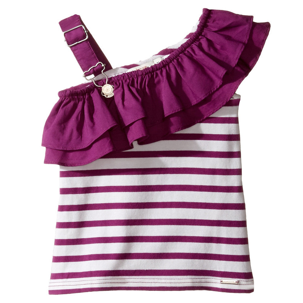 Junior Gaultier Girls Purple Ruffle Top Girls Tops Junior Gaultier [Petit_New_York]