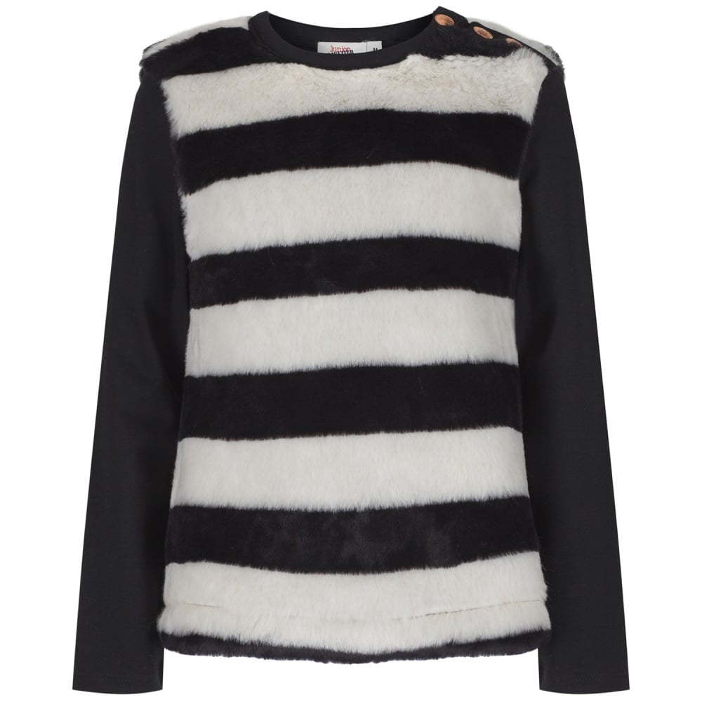 Junior Gaultier Girls Black Faux Fur Shirt Girls Tops Junior Gaultier [Petit_New_York]