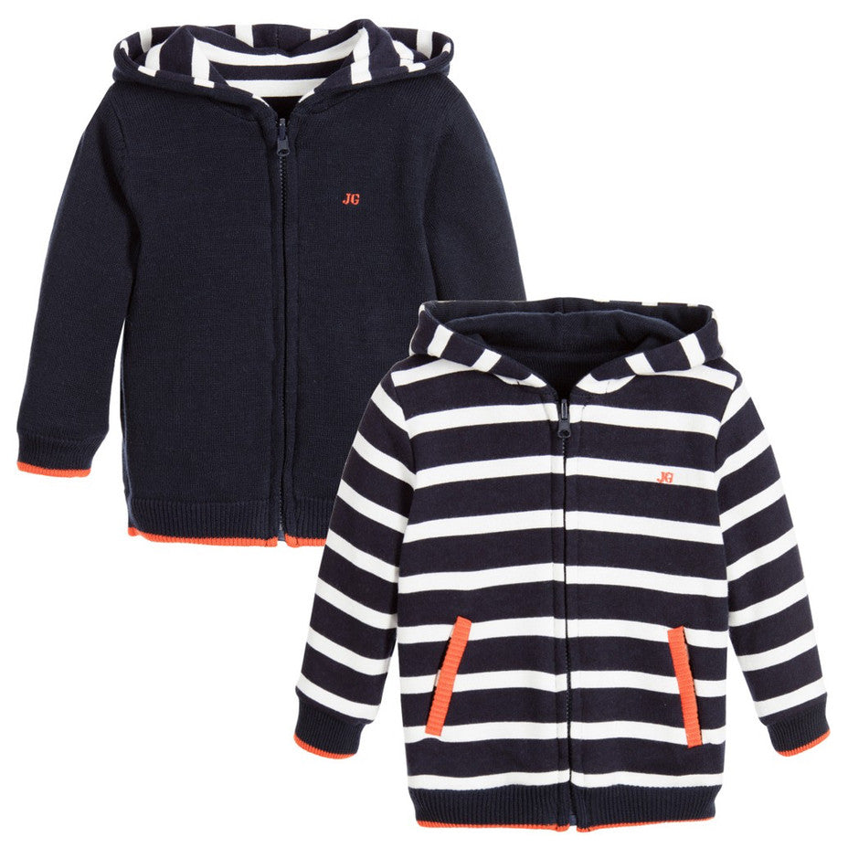 Junior Gaultier Baby Boys Reversible Navy Blue Hoodie Baby Tops Junior Gaultier [Petit_New_York]