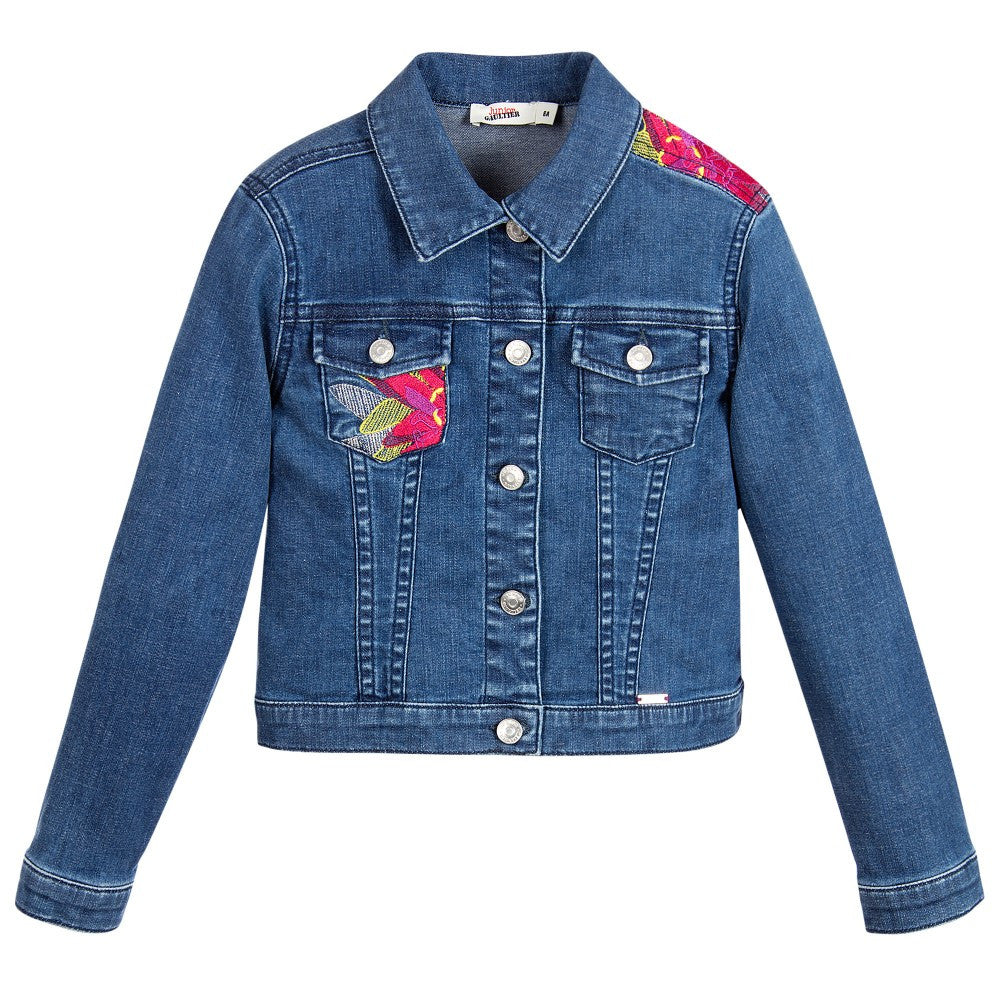 Junior Gaultier Girls Floral Embroidered Denim Jacket Girls Jackets & Coats Junior Gaultier [Petit_New_York]