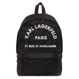 Karl Lagerfeld Black Paris Logo Backpack (Unisex)