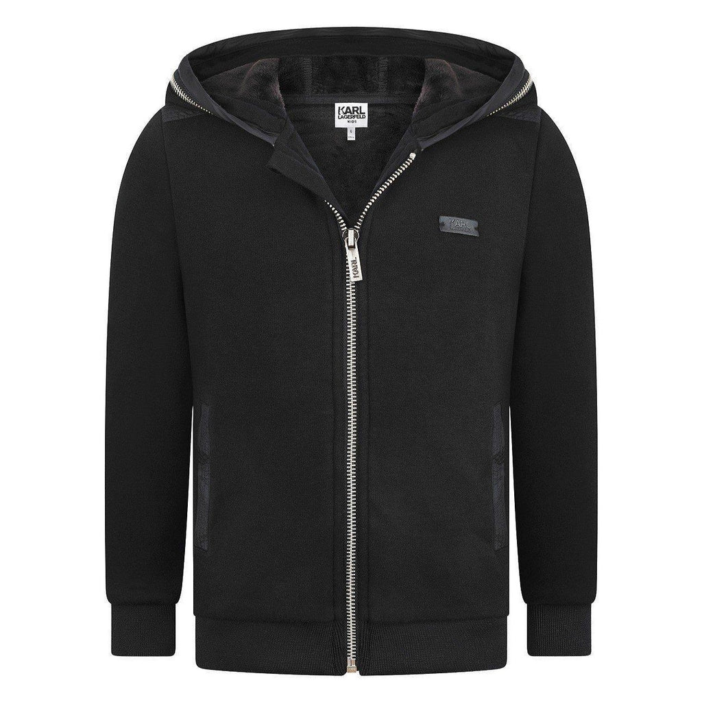 Karl Lagerfeld Boys Black Zip-Up Hoodie with Leather