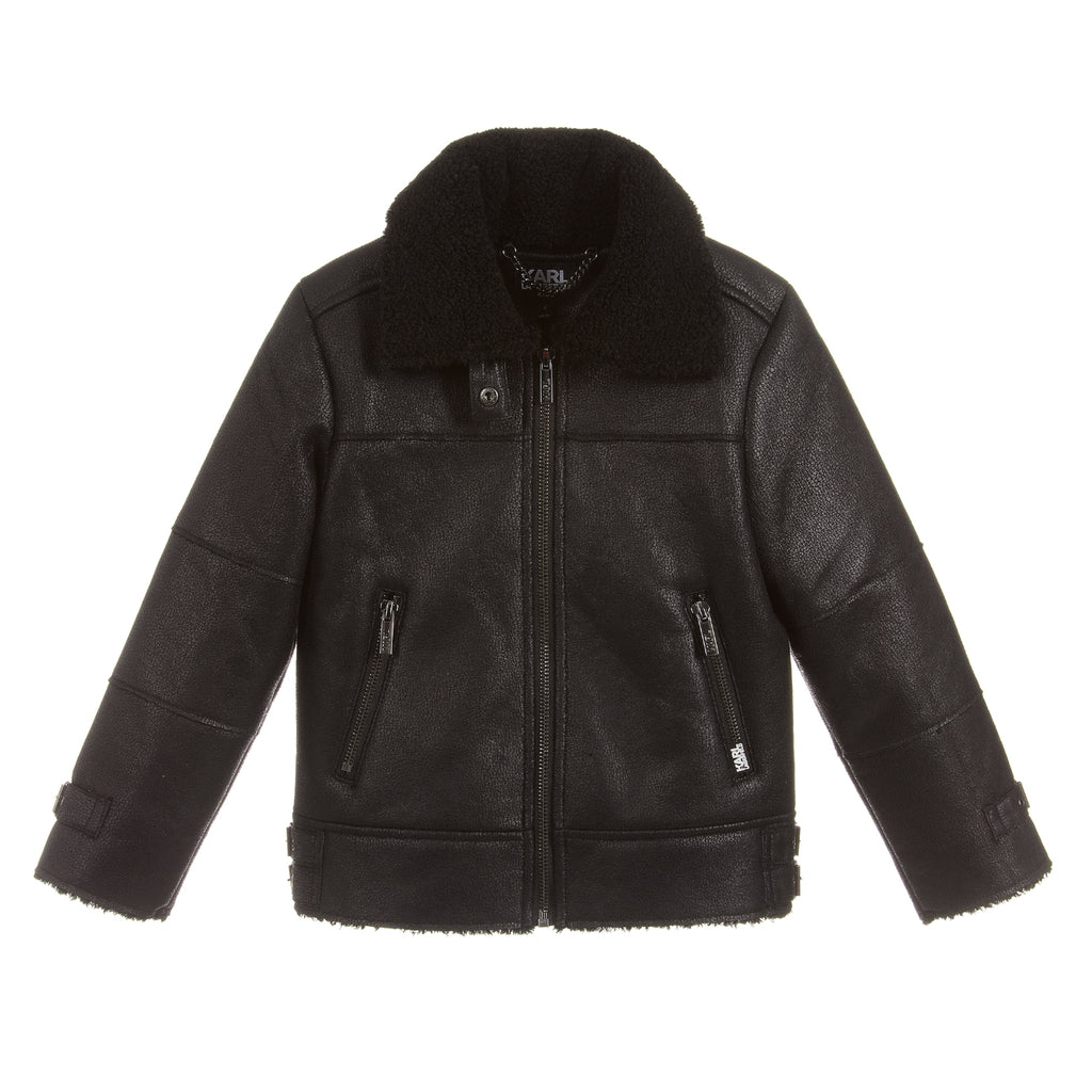 Karl Lagerfeld Boys Black Leather Jacket (Mini-Me)