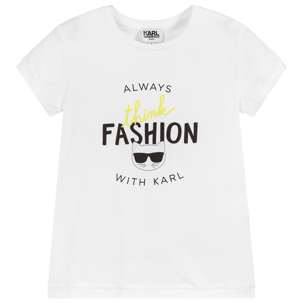Girls White 'Choupette' T-shirt