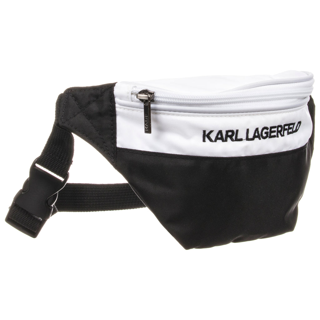 Unisex Black & White Logo Belt Bag