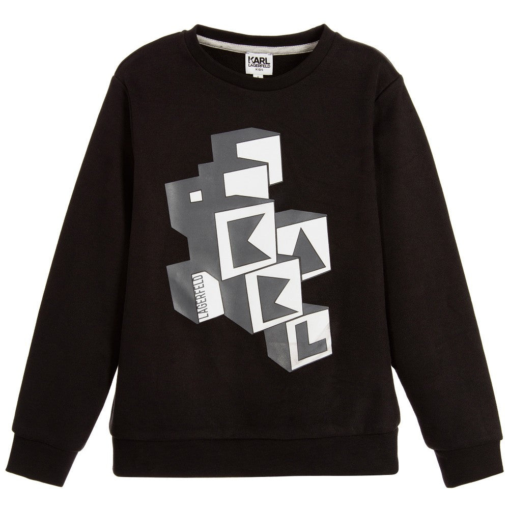 Karl Lagerfeld Boys Black Graphic Cubes Logo Sweatshirt Boys Sweaters & Sweatshirts Karl Lagerfeld Kids [Petit_New_York]