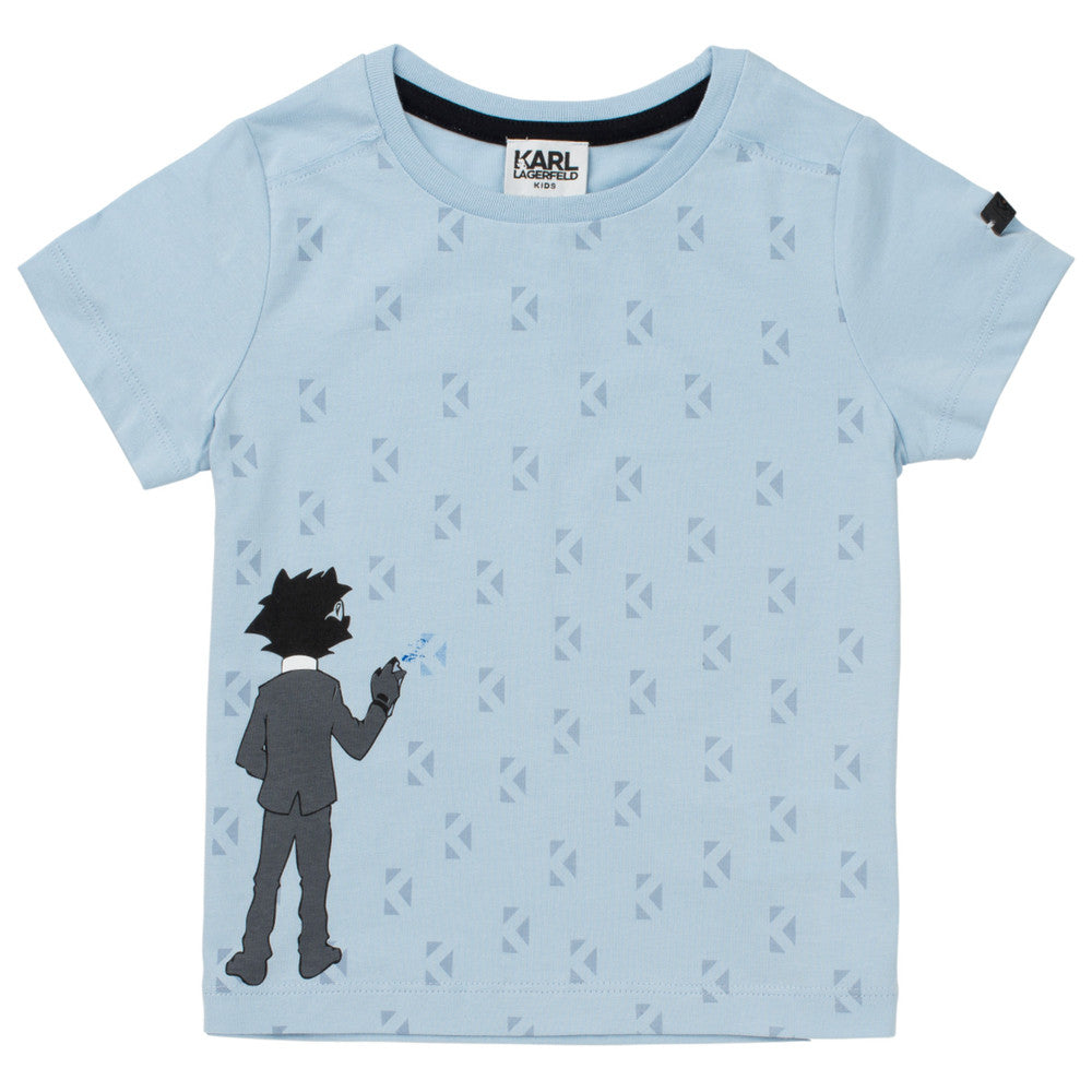 Karl Lagerfeld Boys Blue 'Bad Boy' Graphic T-shirt Boys T-shirts Karl Lagerfeld Kids [Petit_New_York]