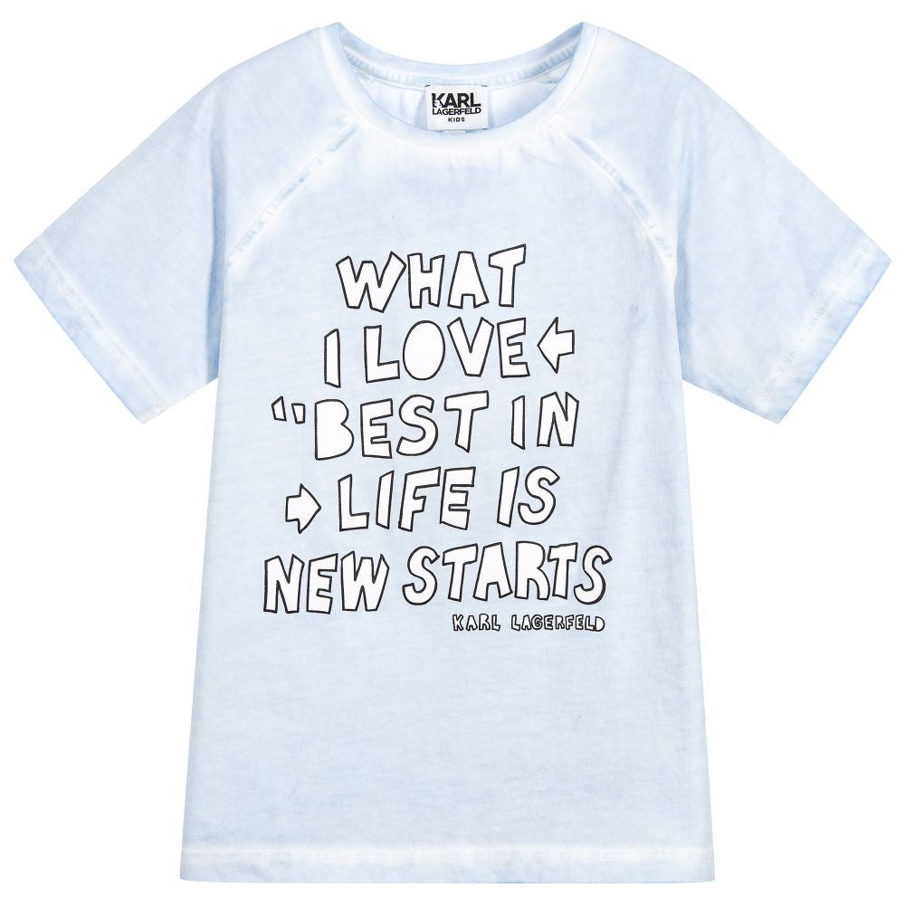 Karl Lagerfeld Boys Powder Blue Print T-Shirt Boys T-shirts Karl Lagerfeld Kids [Petit_New_York]