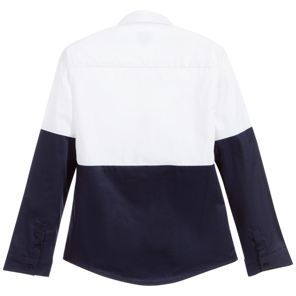 Karl Lagerfeld Boys White and Navy 'Wild Block' Shirt Boys Shirts Karl Lagerfeld Kids [Petit_New_York]