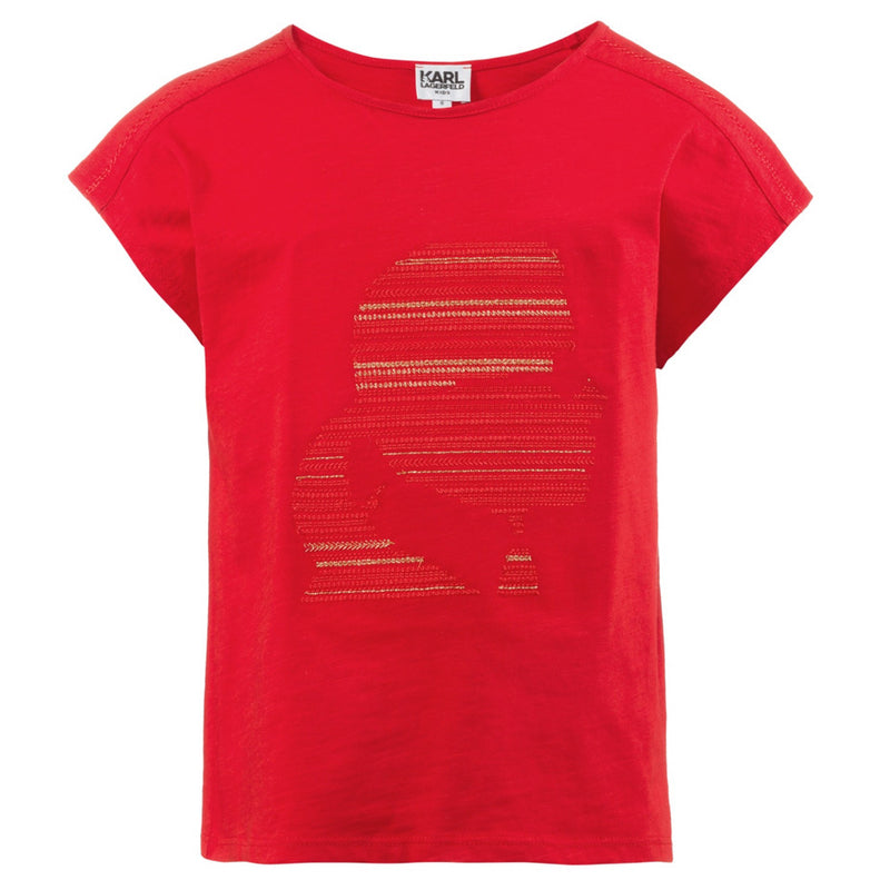 Karl Lagerfeld Girls Red embroidered T-shirt Girls Tops Karl Lagerfeld Kids [Petit_New_York]