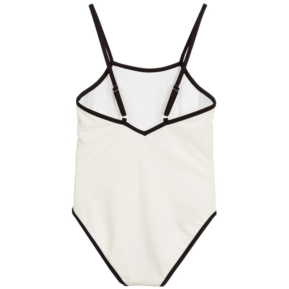 Karl Lagerfeld Girls White Pleated Swimsuit Girls Swimwear Karl Lagerfeld Kids [Petit_New_York]