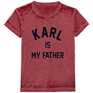 Eleven Paris Girls Red 'Karl Is My Father' T-shirt Girls Tops Little Eleven Paris [Petit_New_York]