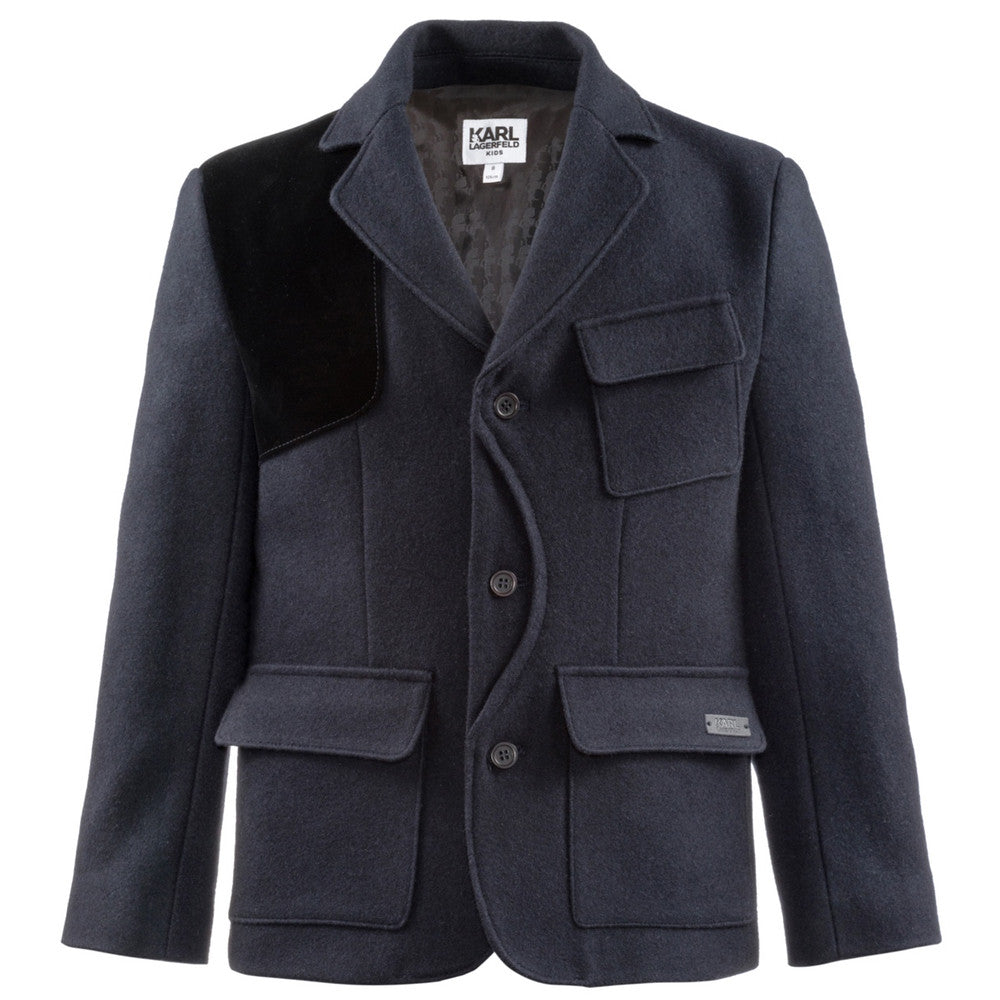 Karl Lagerfeld Boys Navy Wool Blazer Boys Suits & Blazers Karl Lagerfeld Kids [Petit_New_York]