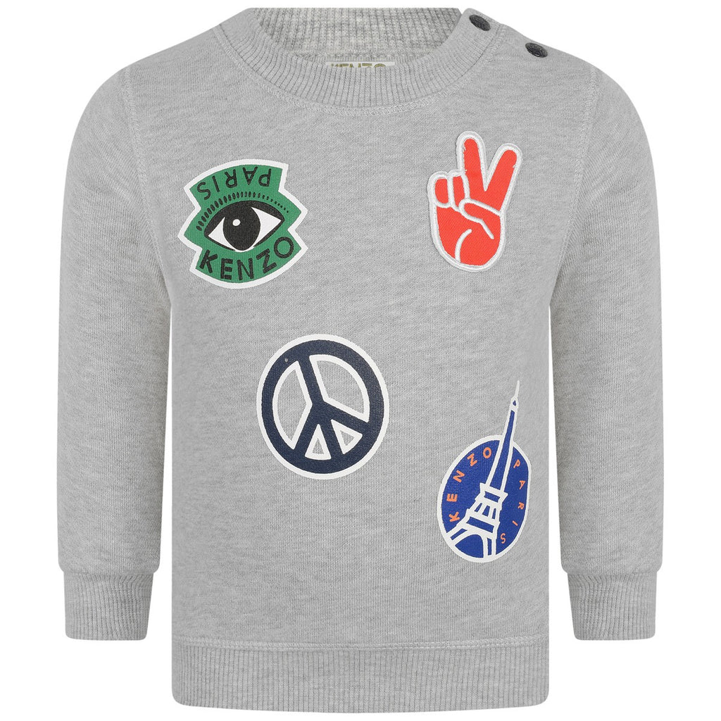 Kenzo Boys Grey Colorful Patched Sweater Boys Sweaters & Sweatshirts Kenzo Paris [Petit_New_York]