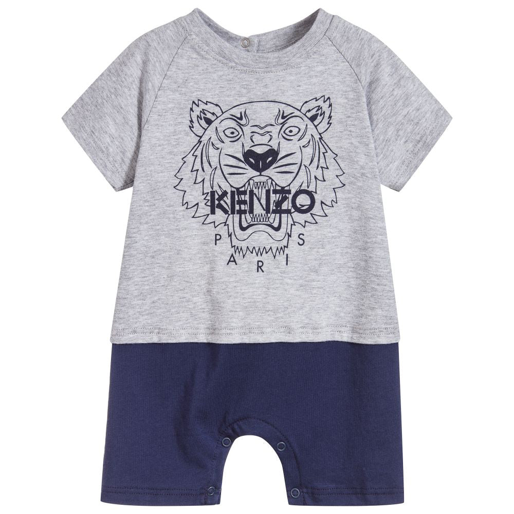 Baby Boys Grey Tiger Logo One-Piece