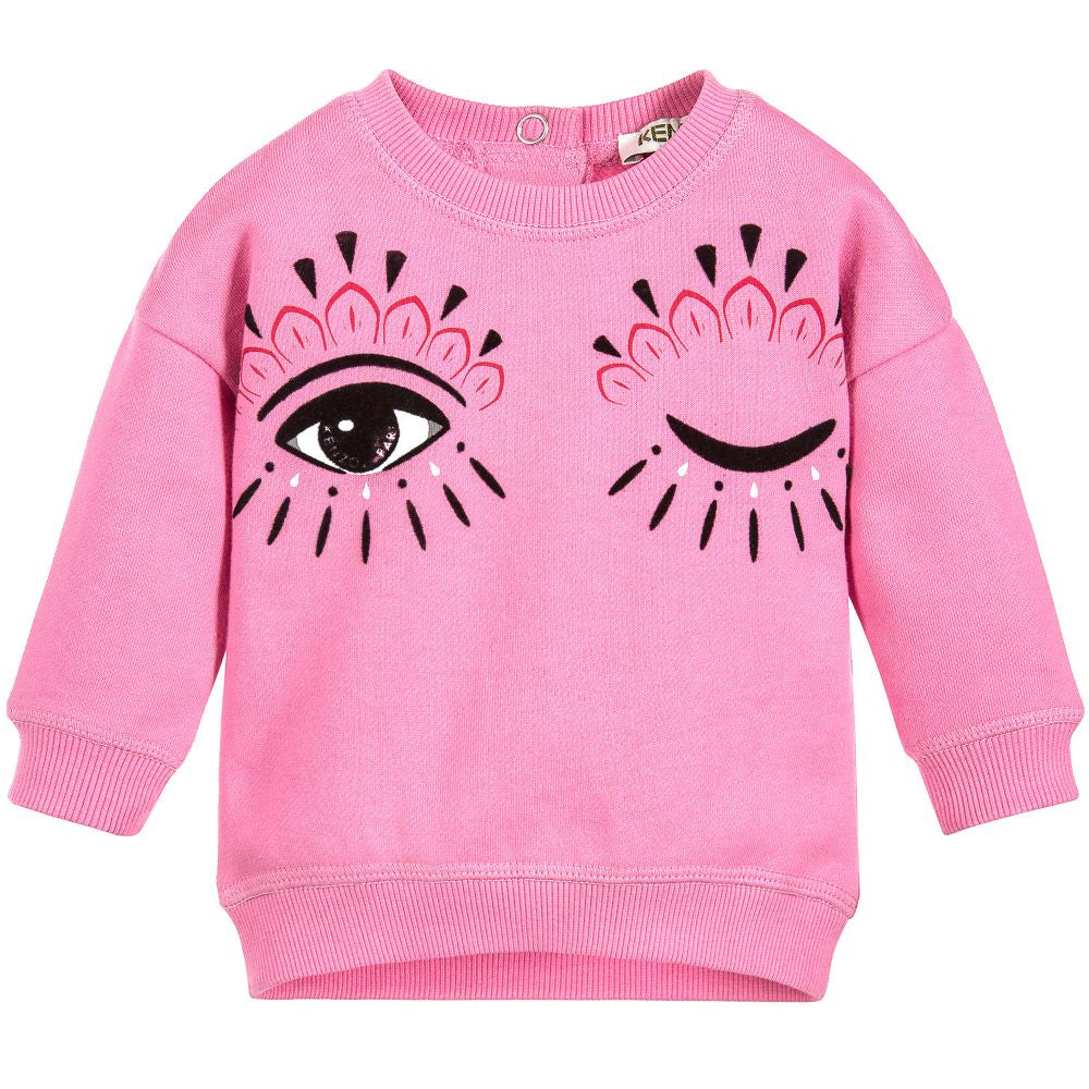 Kenzo Baby Girls 'Eye' Pink Sweatshirt (Mini-Me) Baby Sweaters & Sweatshirts Kenzo Paris [Petit_New_York]