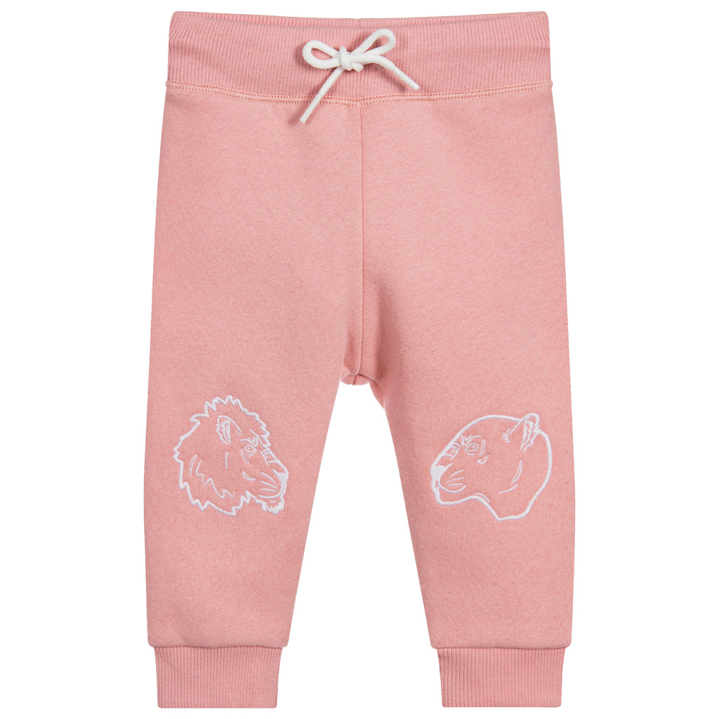 Kenzo Baby Girls Soft Pink Tiger Patched Sweatpants