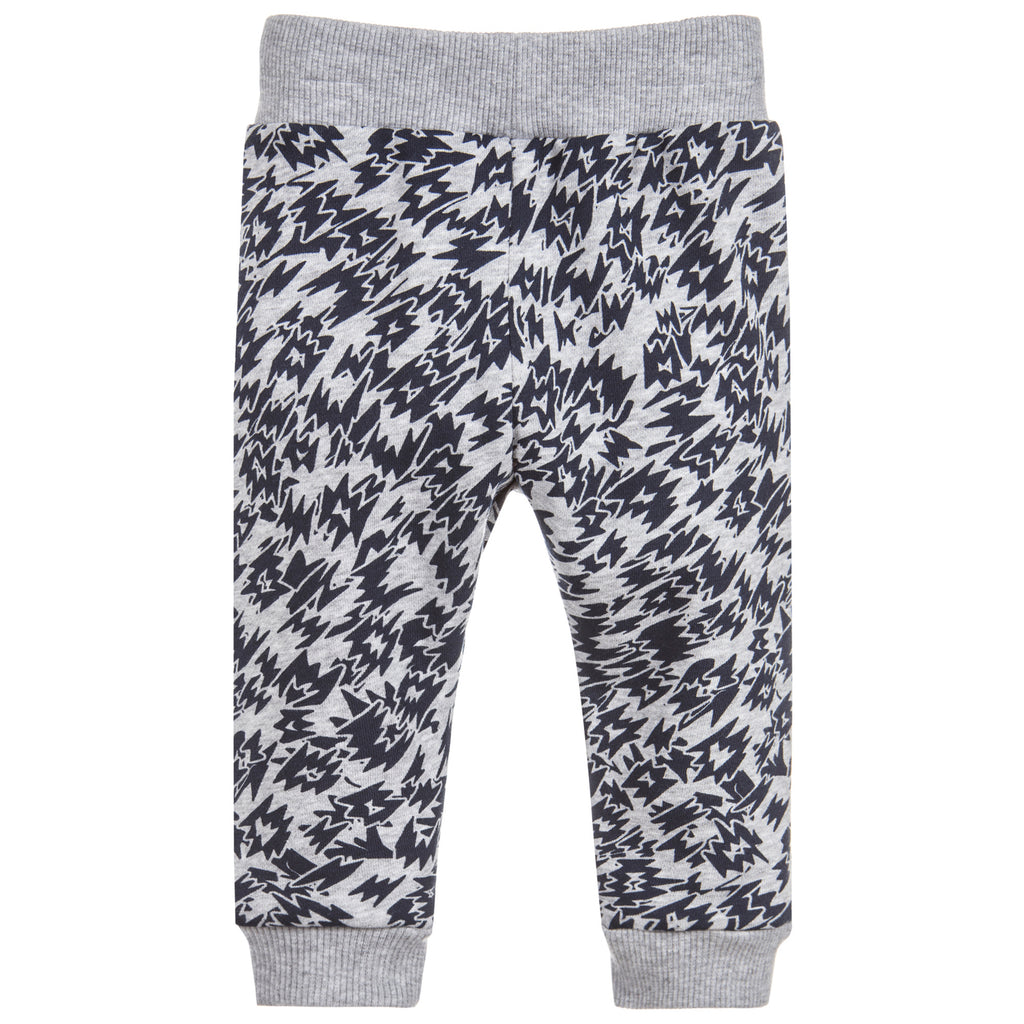 Baby Unisex Grey and Black Tiger Patched Sweatpants