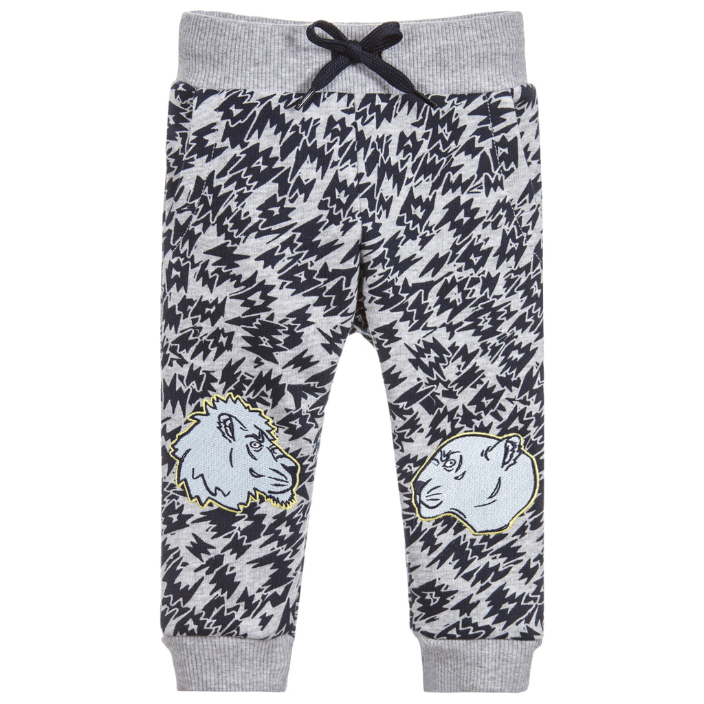 Kenzo Baby Grey and Black Tiger Patched Sweatpants (unisex)