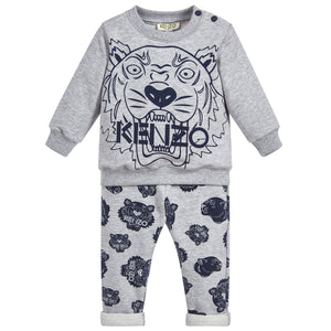 Baby Unisex Grey and Blue Logo Tracksuit
