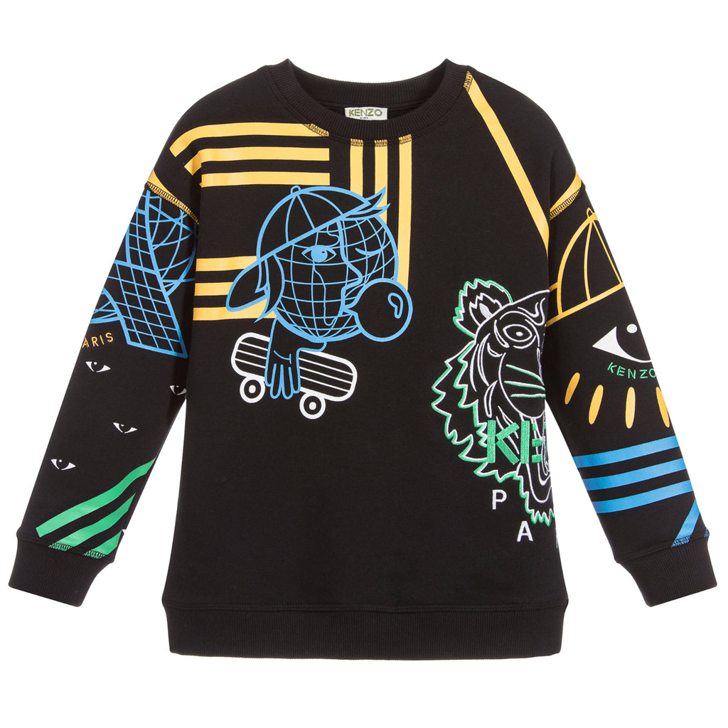 Boys Black Graphic Sweatshirt (Unisex)