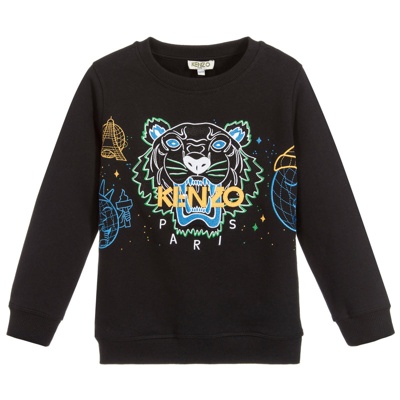 Boys Black Tiger Logo Sweatshirt