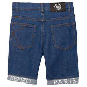 Boys Fold-Up Logo Blue Bermuda Shorts