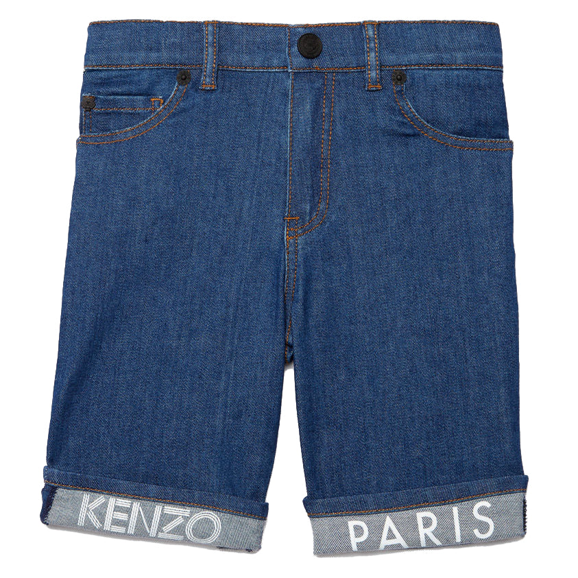 Kenzo Boys Fold-Up Logo Blue Bermuda Shorts