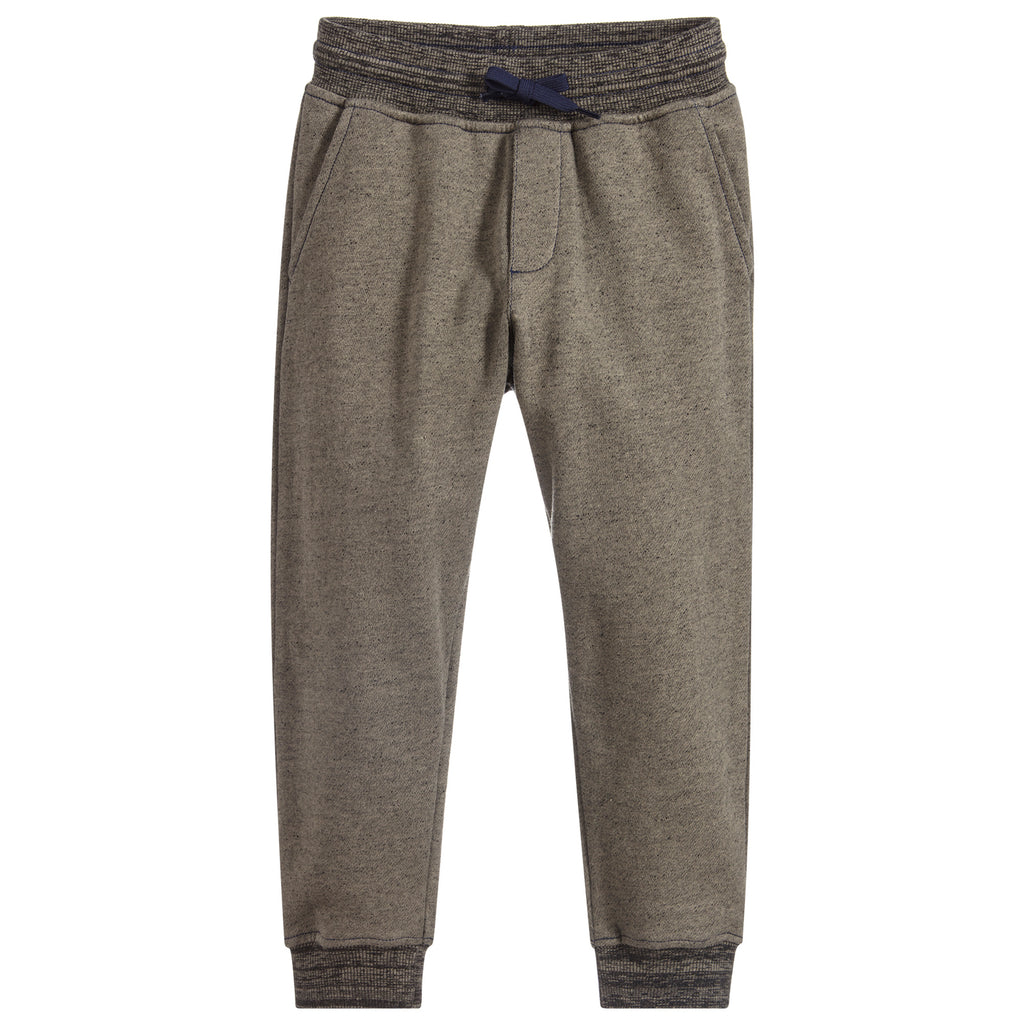 Boys Green Back Logo Cotton Sweatpants