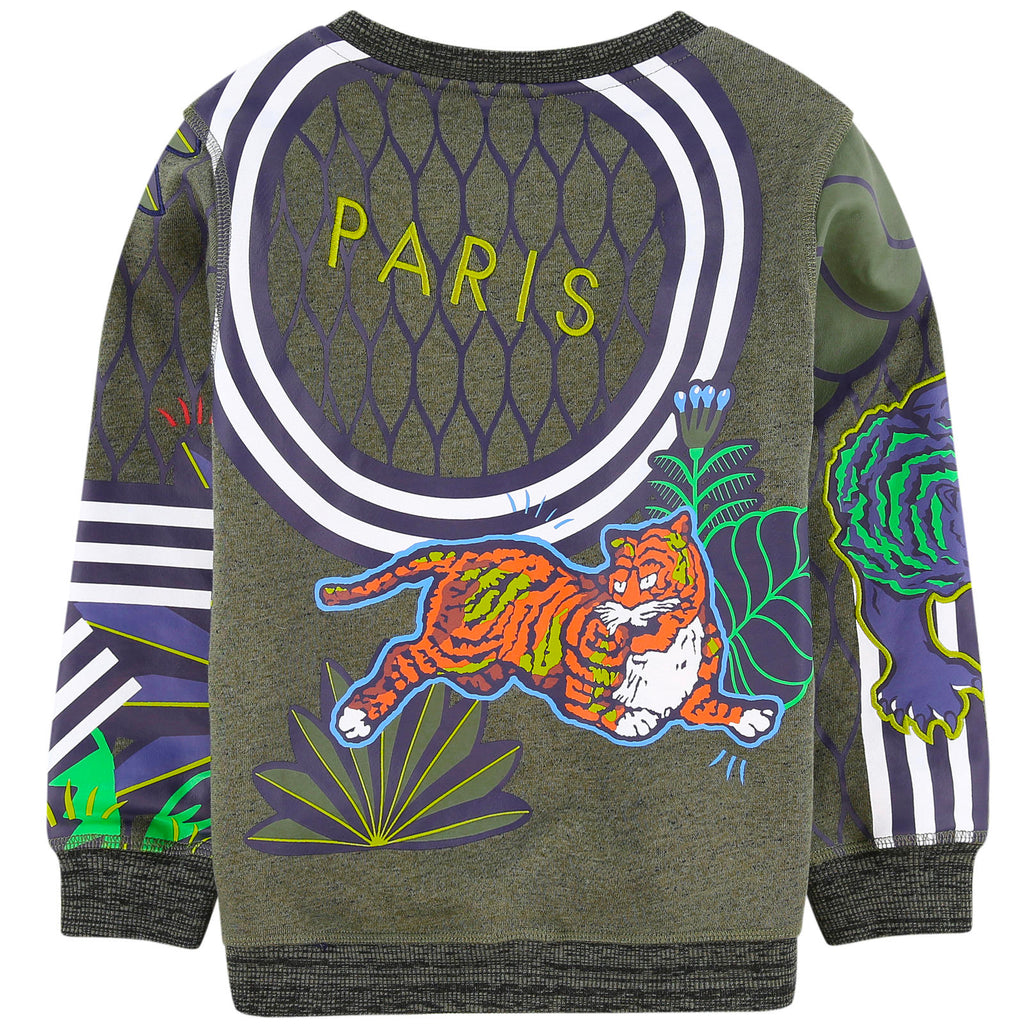 Boys Green Jungle Tiger Logo Sweatshirt