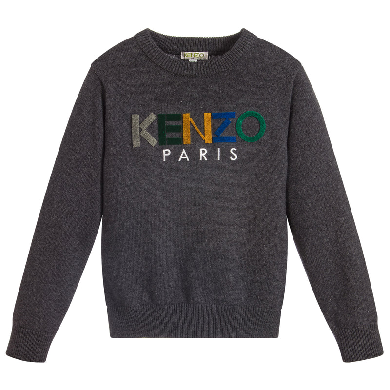 Unisex Grey Knitted Colorful Logo Sweater