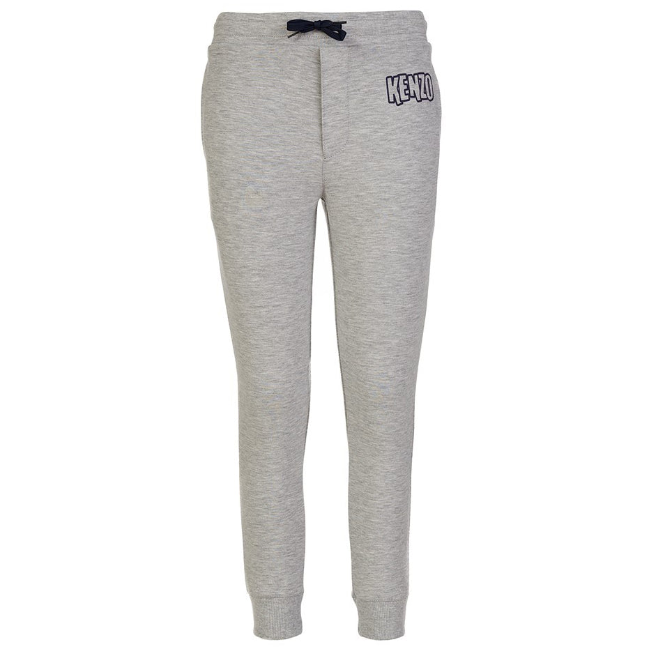 Kenzo Boys Grey/Navy Logo Patched Sweatpants Boys Pants Kenzo Paris [Petit_New_York]