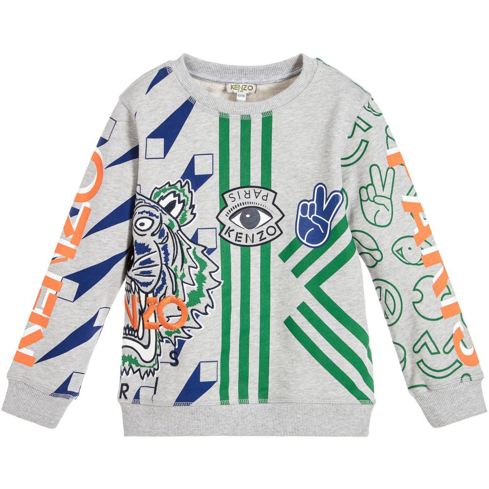 Kenzo Boys Grey Tiger and Patches Sweatshirt Boys Sweaters & Sweatshirts Kenzo Paris [Petit_New_York]