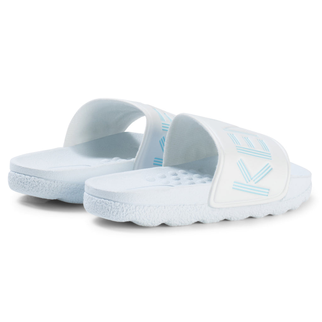 Unisex White & Light Blue Logo Slides