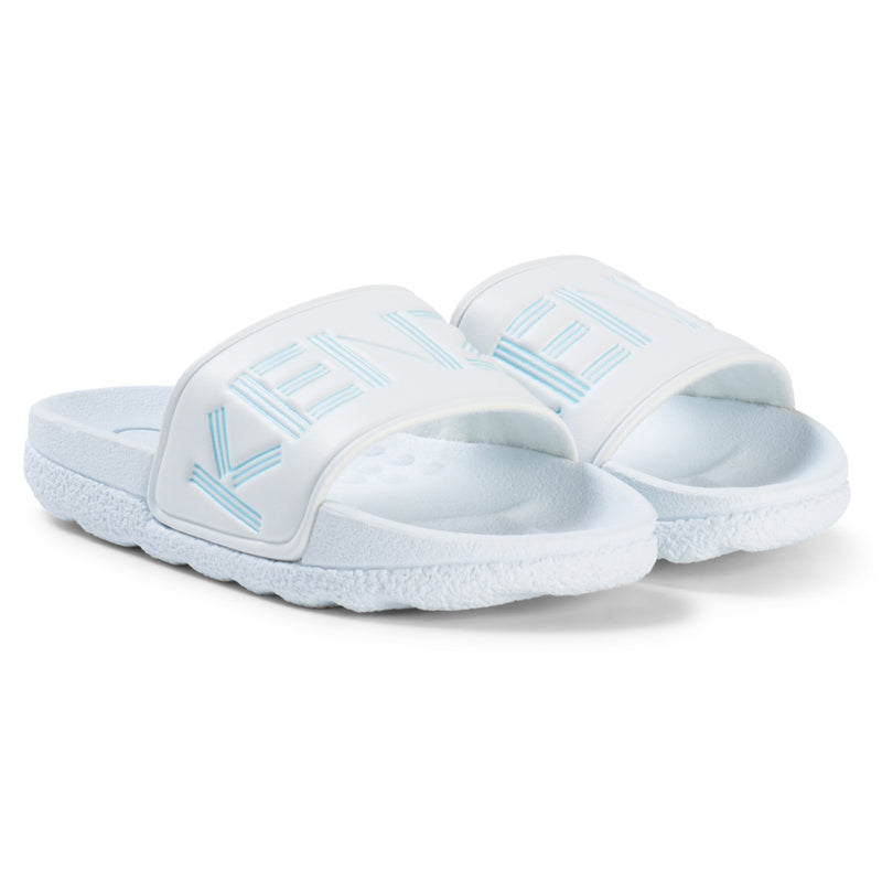 Kenzo Unisex White with Light Blue Logo Slides